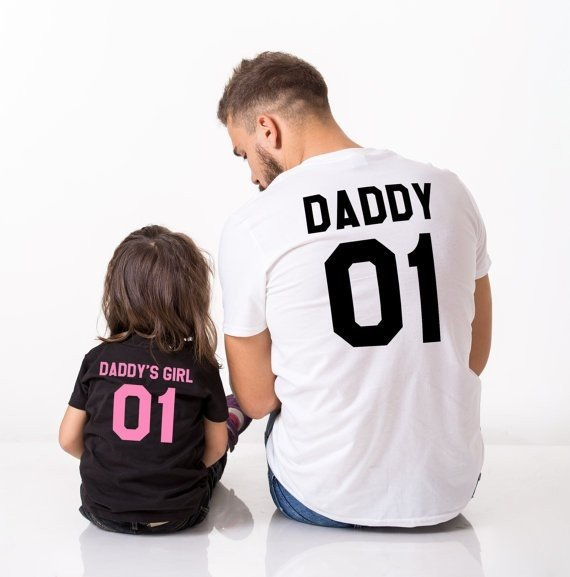 Father and daughter matchiing t-shirts