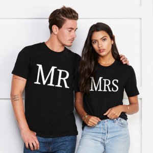 Mr and Mrs black round neck couple tshirt