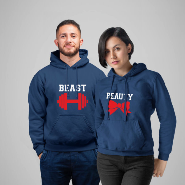 Beast & Beauty Navy Blue Couple Hoodie