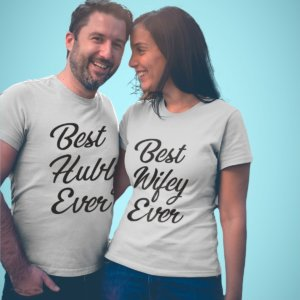 Best hubby and wifey ever printed t-shirts for couples