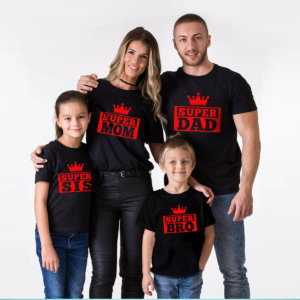 Super Dad,Super Mom,Super Sis,Super Bro Family Tshirt