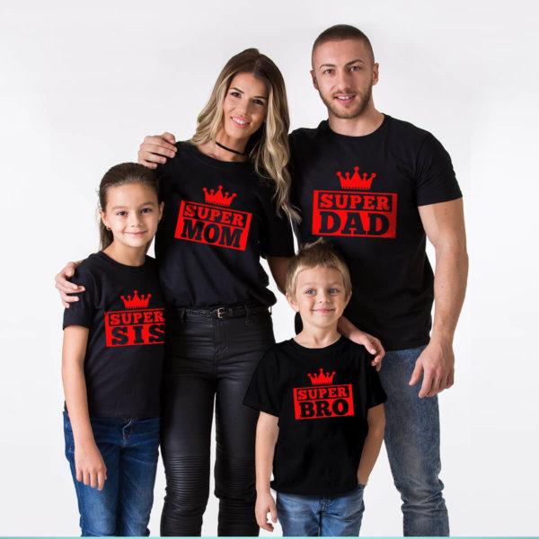 Super Dad,Super Mom,Super Sis,Super Bro Family Round Neck Black Tshirt