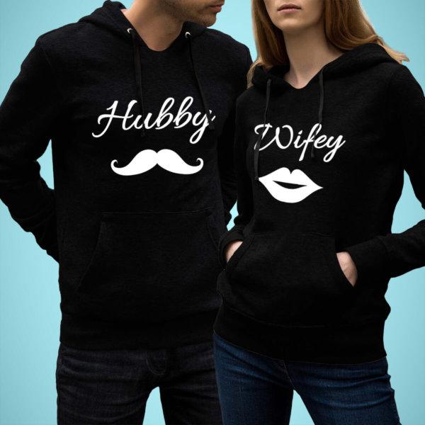 Hubby Wifey Couple Hoodies