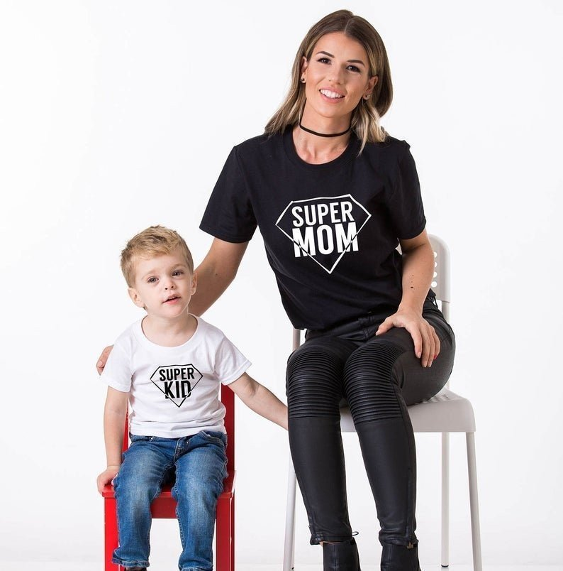 mother and son matching t-shirts