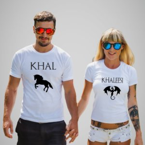 Khal and khaleesi couple white tshirt