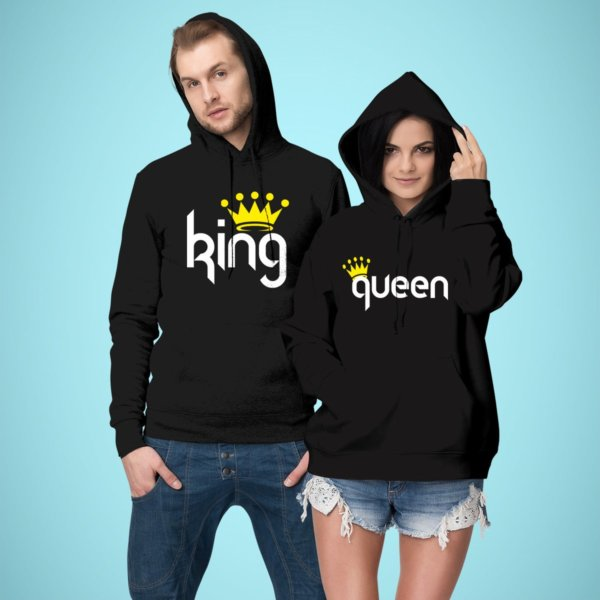 King and queen printed couple black hoodies