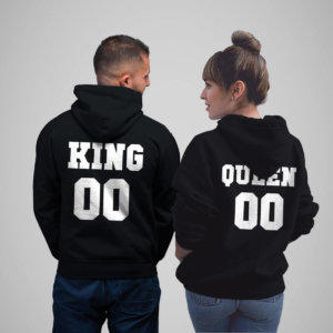 King and queen Back Printed Hoodies