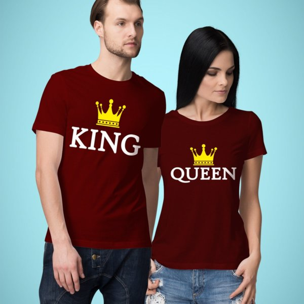 King and queen printed couple tshirt