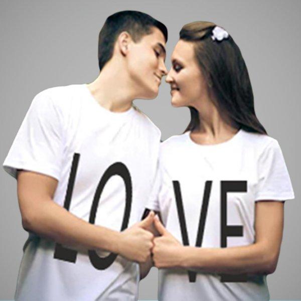 LOVE printed white couple tshirt