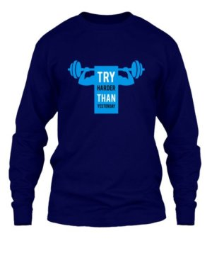 try harder than yesterday, Men's Hoodies