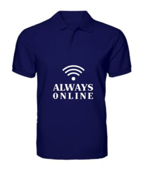 Always online t-shirt, Men's Polo Neck T-shirt