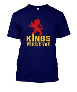 KINGS are born in February, Kid's Unisex Round Neck T-shirt