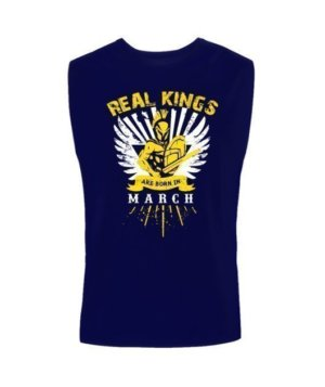 Real Kings are born in March, Men's Polo Neck T-shirt