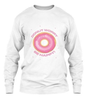 Donut Worry Be Happy- tshirt, Men's Long Sleeves T-shirt