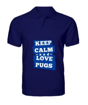 Keep calm and love pugs, Men's Polo Neck T-shirt