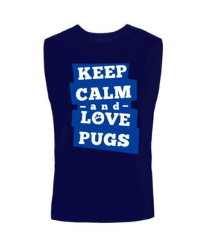 Keep calm and love pugs, Men's Sleeveless T-shirt