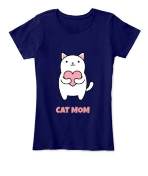 Cat Mom, Women's Round Neck T-shirt