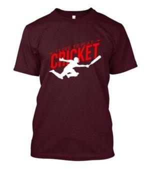 I love to play cricket, Men's Round T-shirt