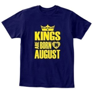 Kings are born in August Hoodies, Kid's Unisex Round Neck T-shirt