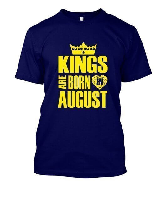 Kings are born in August Hoodies, Men's Round T-shirt