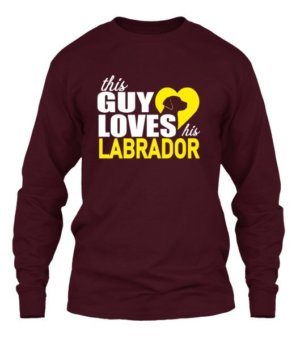 This guy loves his labrador, Men's Long Sleeves T-shirt