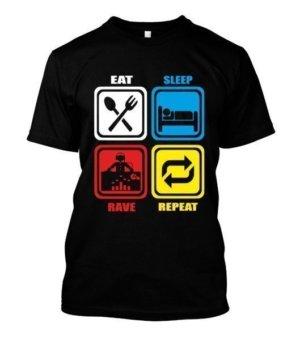 Eat Sleep Rave Repeat, Men's Round T-shirt