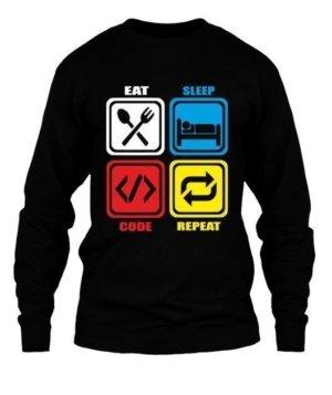 Eat Sleep Code Repeat, Men's Round T-shirt