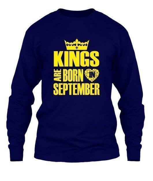 Kings are born in September Hoodies, Men's Long Sleeves T-shirt