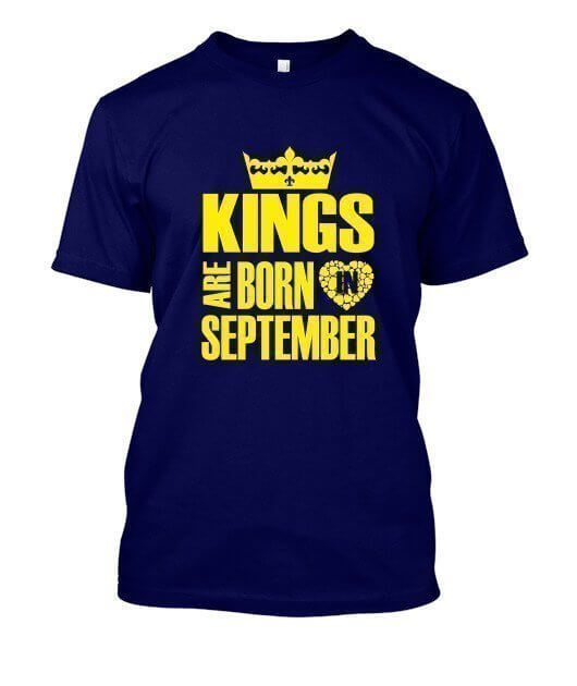 Kings are born in September Hoodies, Men's Round T-shirt