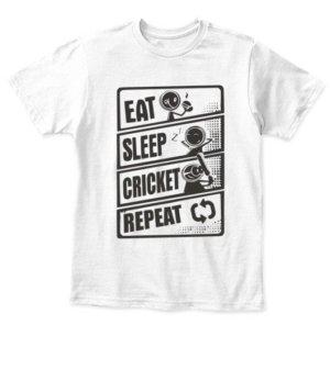 Eat Sleep Cricket Repeat, Kid's Unisex Round Neck T-shirt