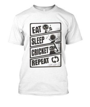 Eat Sleep Cricket Repeat, Men's Round T-shirt