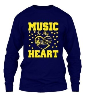 MUSIC IS MY HEART, Men's Long Sleeves T-shirt