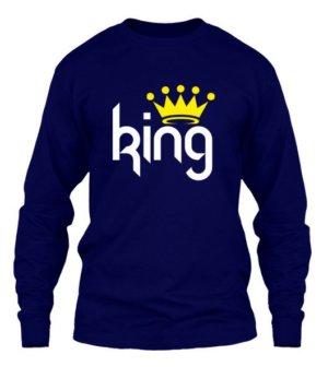 King & Queen Couple Hoodies -Men, Men's Long Sleeves T-shirt