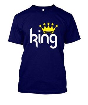 King & Queen Couple Hoodies -Men, Men's Round T-shirt
