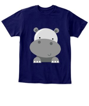 Cute hippo, Kid's Unisex Round Neck T-shirt