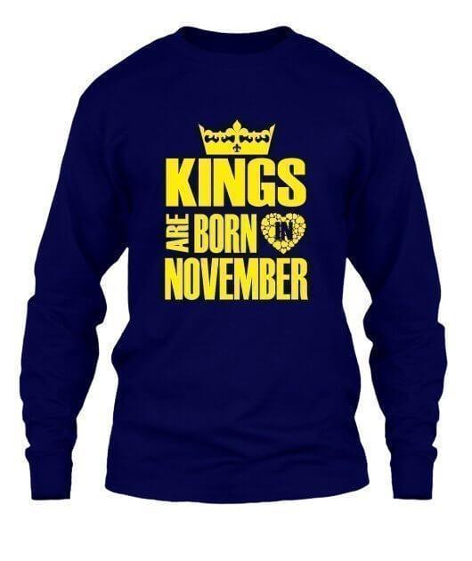 Kings are born in November Hoodies, Men's Long Sleeves T-shirt