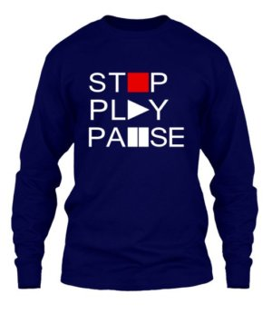 STOP PLAY PAUSE, Men's Long Sleeves T-shirt
