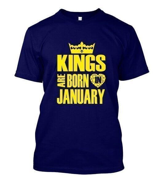 Kings are born in January Hoodies, Men's Round T-shirt