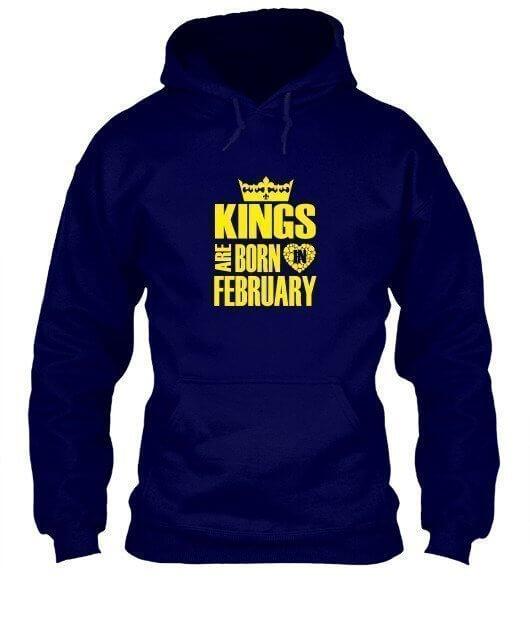 Kings are born in February Hoodies, Men's Hoodies