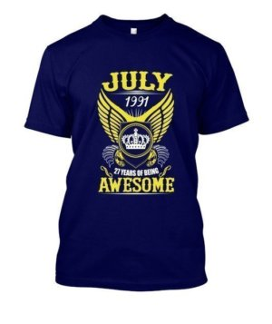 July 1991, 27 Years Of Being Awesome, Men's Round T-shirt
