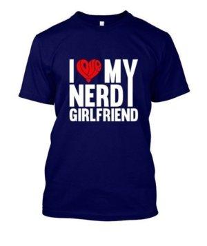 nerdy girlfriend, Men's Round T-shirt
