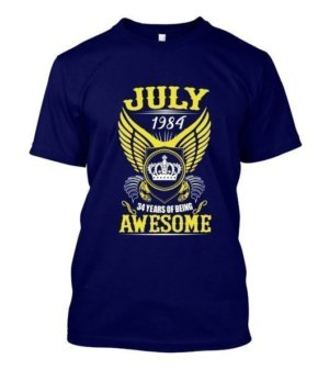 July 1984, 34 Years Of Being Awesome, Men's Round T-shirt