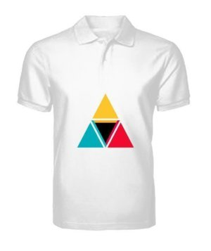 colorful triangles, Men's Polo Neck T-shirt