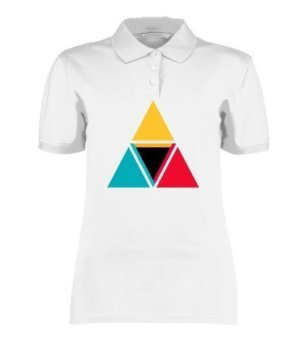 colorful triangles, Women's Polo Neck T-shirt