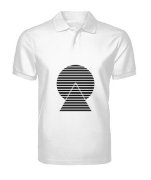 monochrome striped, Men's Polo Neck T-shirt