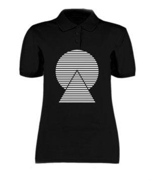 monochrome striped, Women's Polo Neck T-shirt