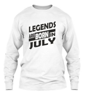 Legends are born in july white tshirt, Men's Long Sleeves T-shirt