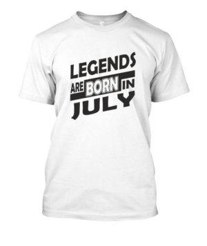 Legends are born in july white tshirt, Kid's Unisex Round Neck T-shirt
