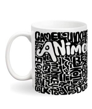 Animals Design Pattern Mugs and Bottles, White Mug