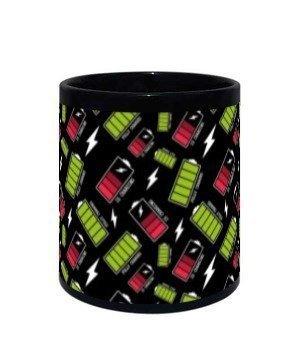 Battery Charged Mug, Black Mug